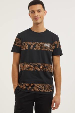 gestreept T-shirt Tuesday zwart/oranje