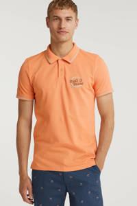 JACK & JONES ORIGINALS regular fit polo Christian met contrastbies oranje, Oranje