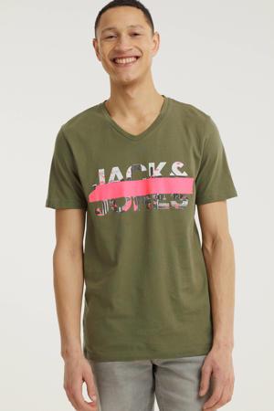 T-shirt Tapo met logo olijfgroen