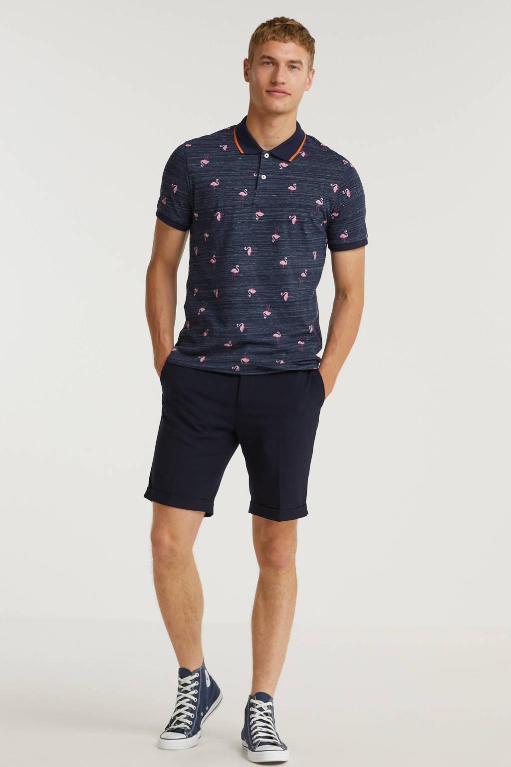 JACK & JONES ORIGINALS regular fit polo pool met all over print navy blazer, Navy Blazer