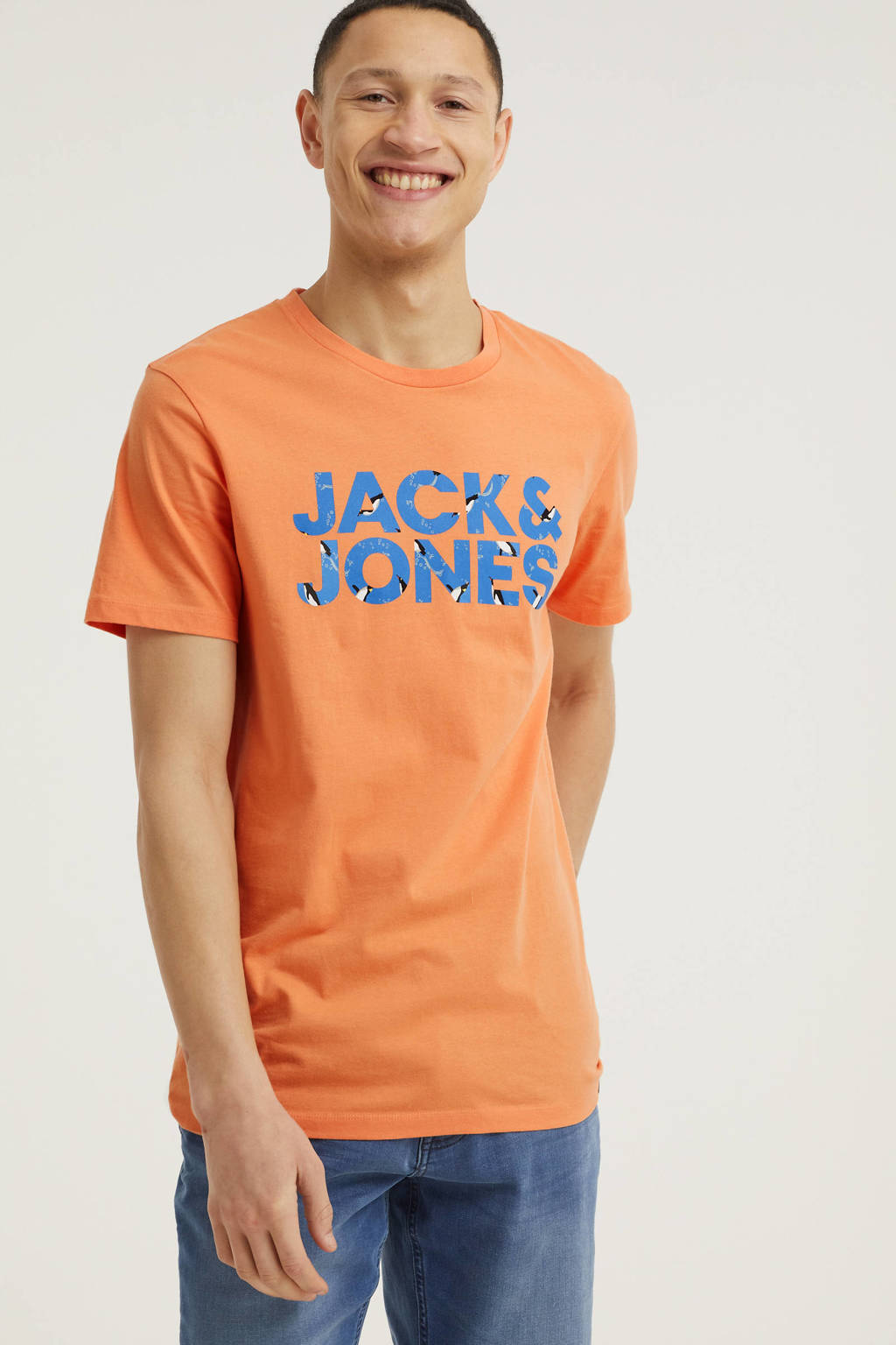 JACK & JONES ORIGINALS T-shirt Swims met logo oranje, Oranje