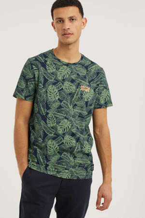 T-shirt Tuesday met all over print groen/donkerblauw