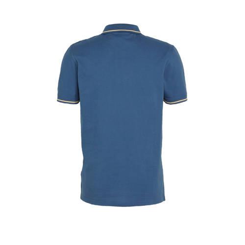JACK & JONES ORIGINALS regular fit polo Christian met contrastbies blauw