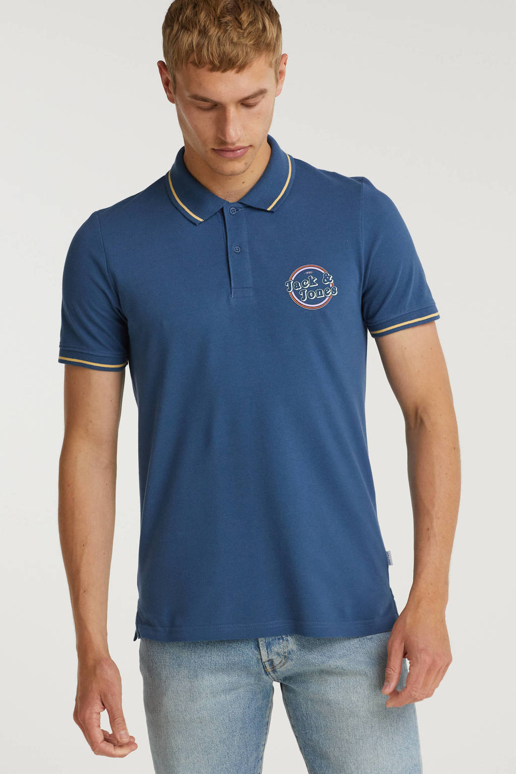 JACK & JONES ORIGINALS regular fit polo Christian met contrastbies blauw, Blauw
