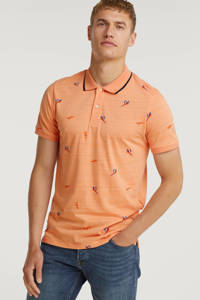 JACK & JONES ORIGINALS regular fit polo pool met all over print shell coral, Shell Coral