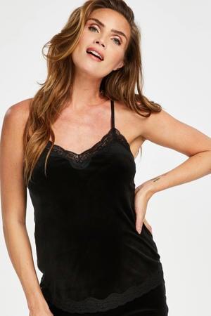 velours zwangerschaps pyjamatop zwart