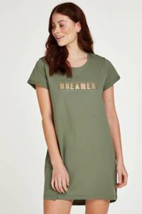 Hunkemöller nachthemd met printopdruk groen, Groen