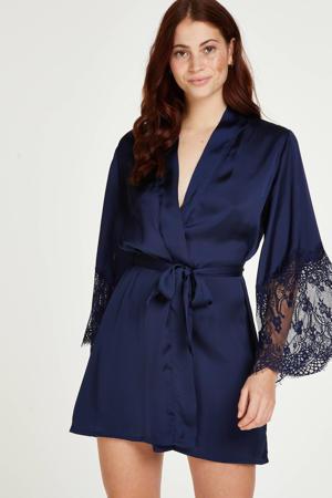 satijnlook kimono met kant donkerblauw