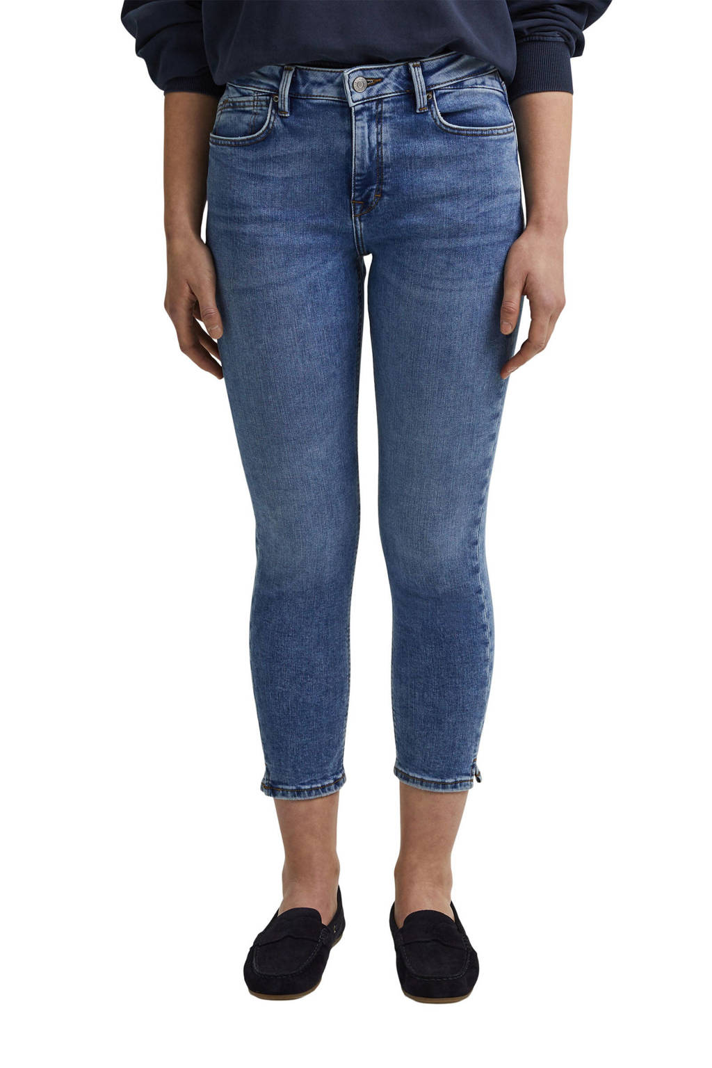 ESPRIT Women Casual cropped slim fit jeans medium blue denim, Medium blue denim