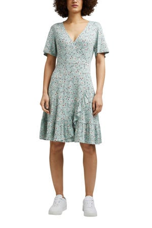 gebloemde A-lijn jurk lichtblauw