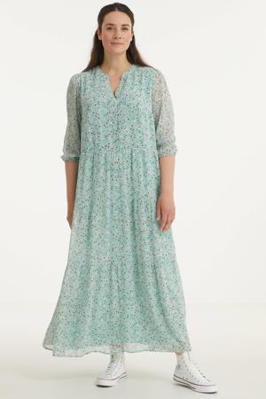 gebloemde semi-transparante jurk van gerecycled polyester mintgroen/wit/geel