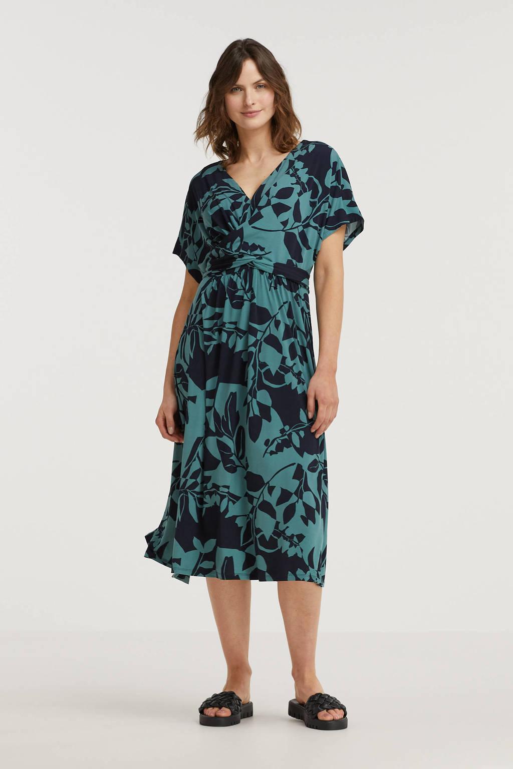 ESPRIT Women Collection jurk met all over print en ceintuur blauw/zwart, Blauw/zwart