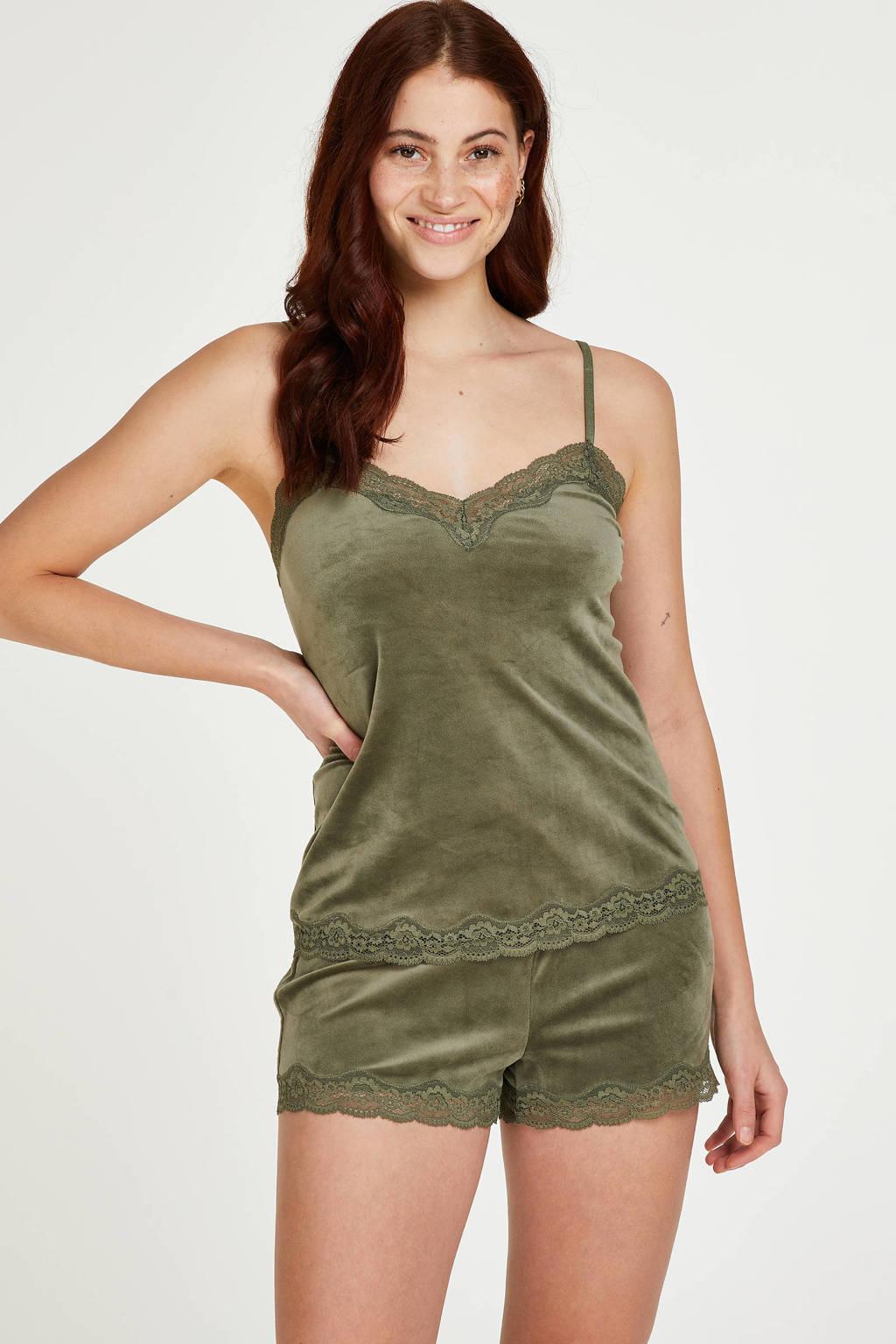 Hunkemöller velours pyjamashort groen, Groen