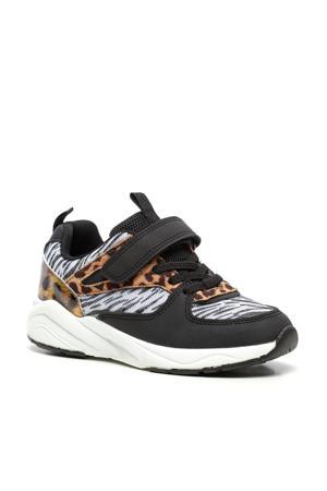 sneakers met dierenprint zwart