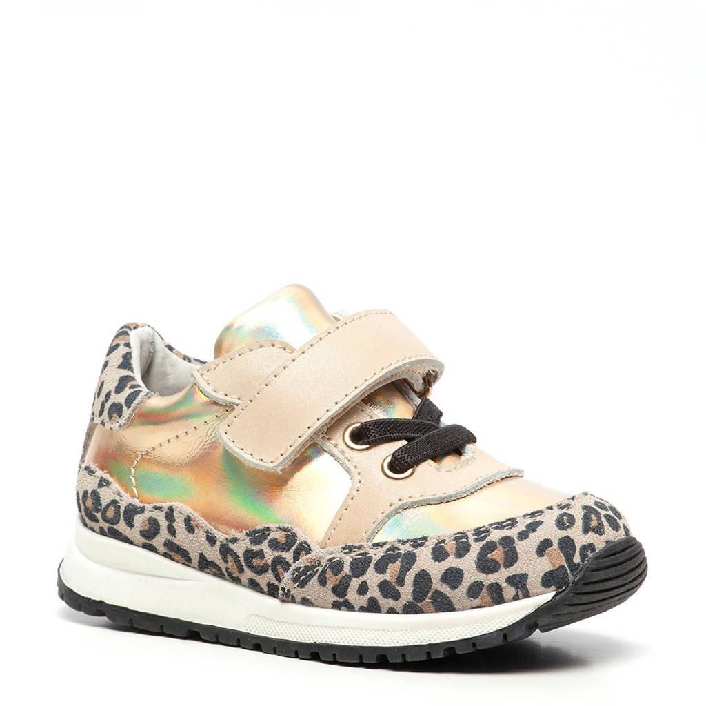 Scapino TwoDay   leren sneakers met panterprint goud, Goud/bruin