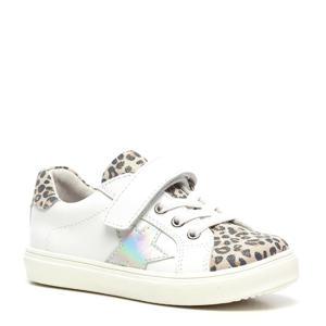 leren sneakers met panterprint wit