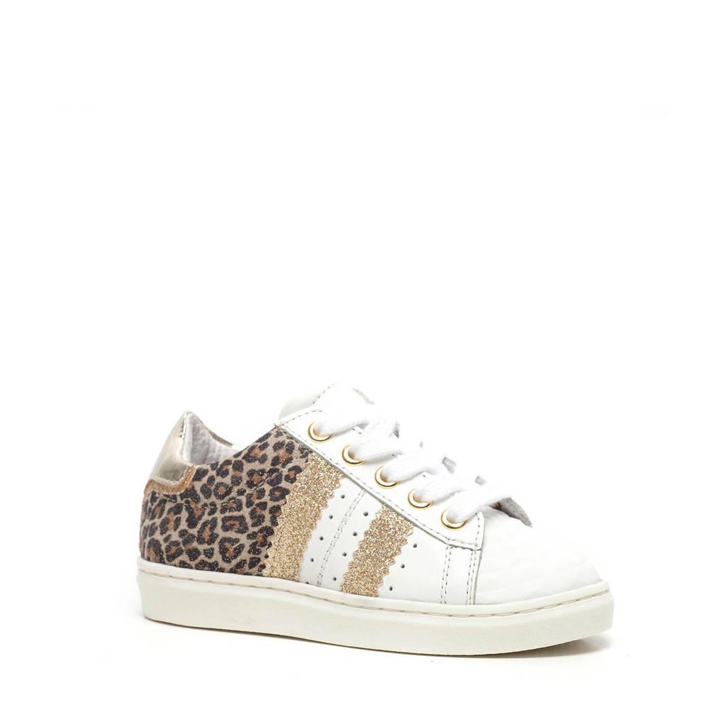 Scapino Groot   leren sneakers met panterprint en glitters wit, wit/goud/bruin