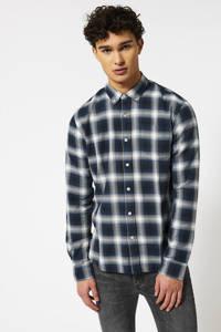 America Today geruit regular fit overhemd Hector blauw, Blauw
