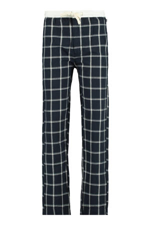 geruite regular fit pyjamabroek Lake donkerblauw/wit