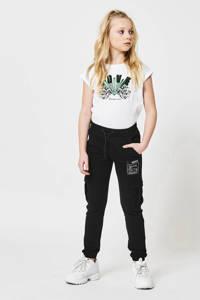 CoolCat Junior joggingbroek Cara met printopdruk zwart, Zwart