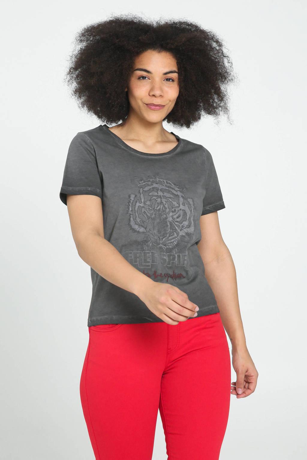Cassis T-shirt met printopdruk antraciet, Antraciet