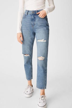 high waist mom jeans light denim bleached