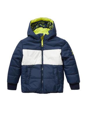 gewatteerde winterjas donkerblauw/wit