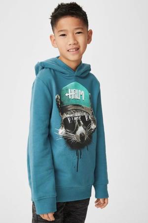 hoodie met printopdruk zeegroen
