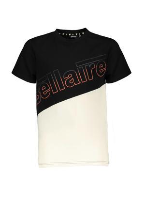 T-shirt Kusy met logo zwart/ecru/oranje