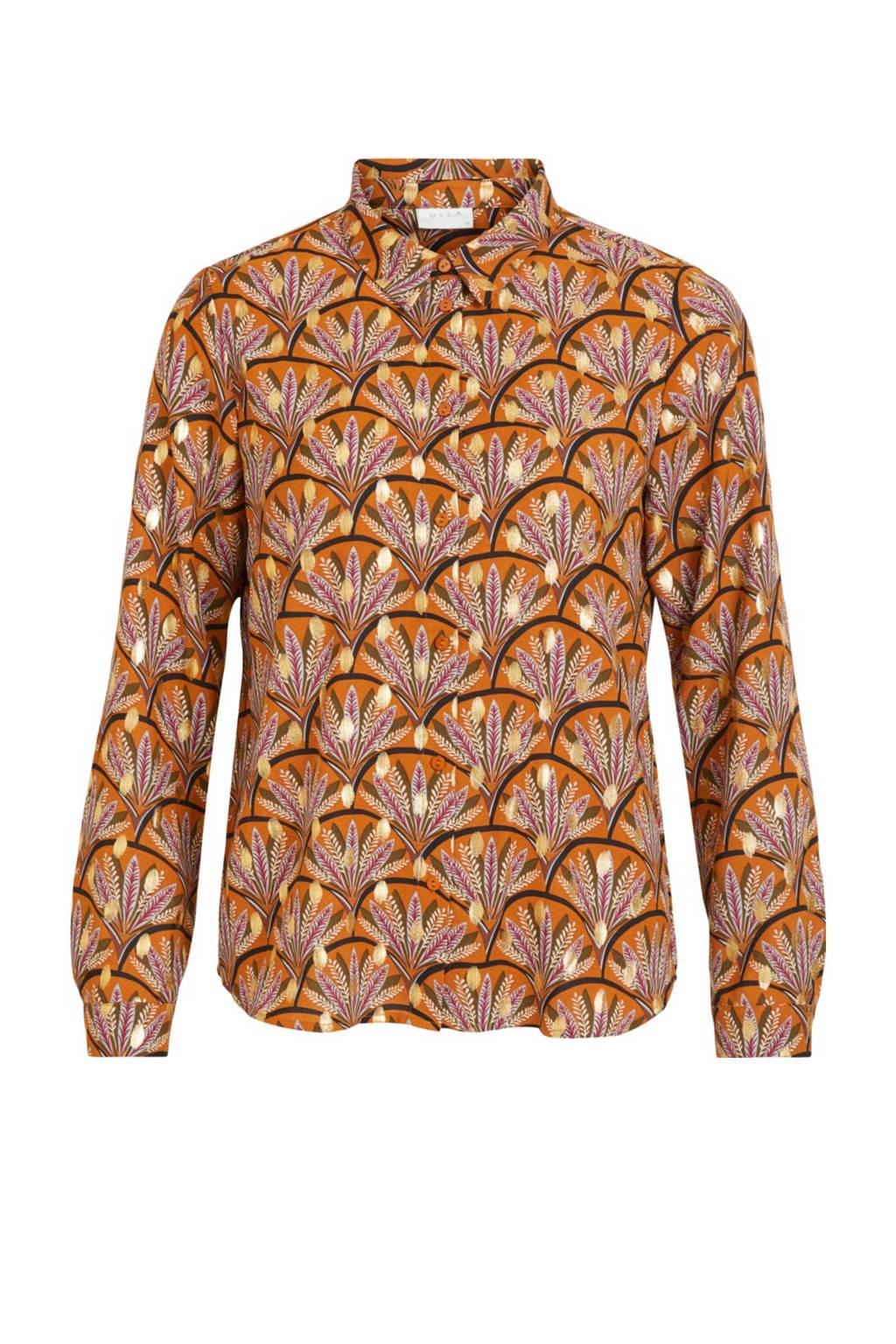 VILA blouse VIZINO met all over print oranje, Oranje