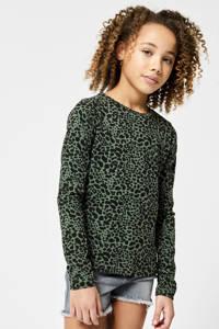 CoolCat Junior longsleeve Lona met all over print groen/zwart, Groen/zwart