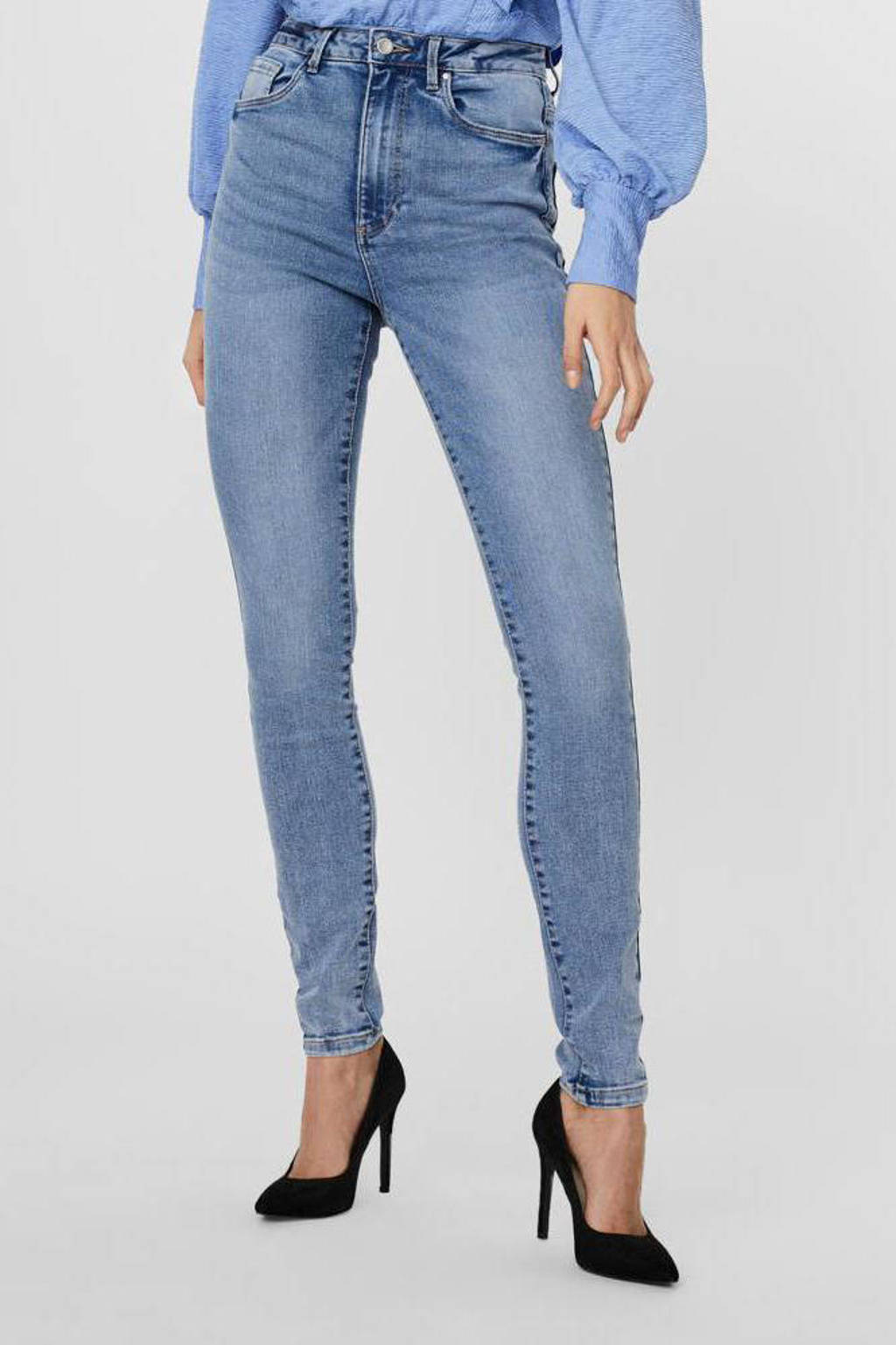 VERO MODA high waist skinny jeans VMLOA met biologisch katoen light denim, Light denim