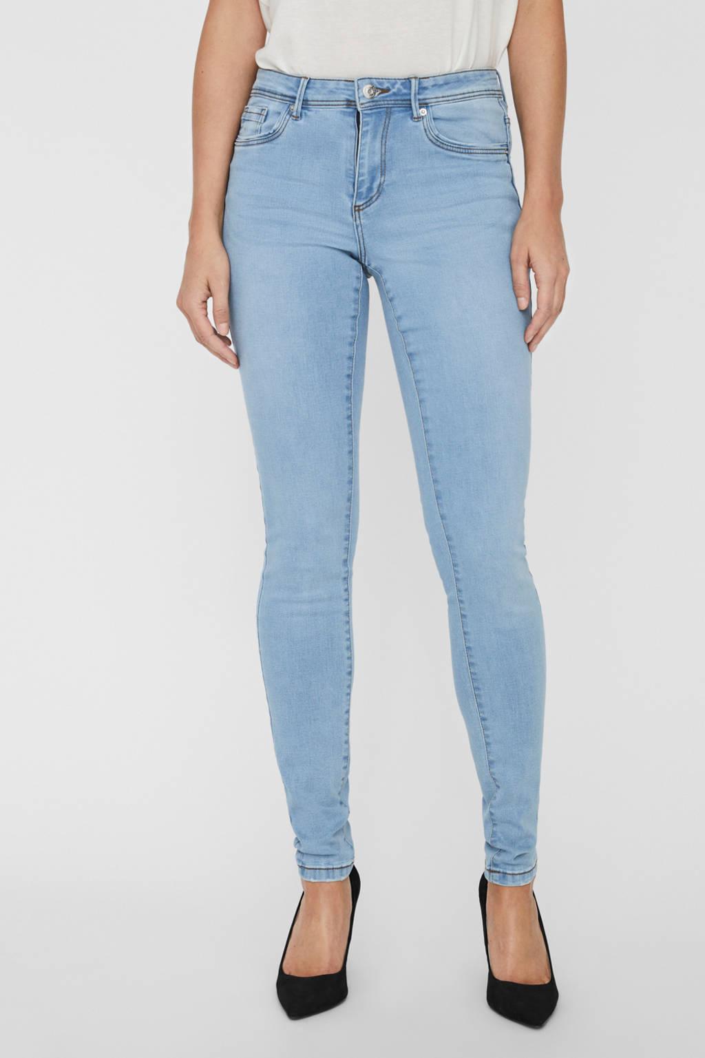 VERO MODA high waist skinny jeans VMTANYA met biologisch katoen light denim, Light denim