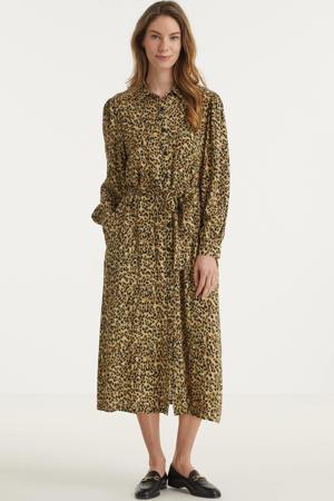 blousejurk Kera met all over print en ceintuur bruin