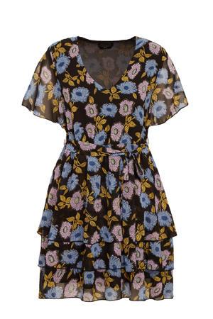 jurk Vila met all over print en ceintuur zwart