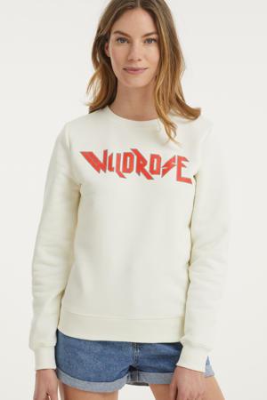 sweater Wild Rose met tekst gebroken wit