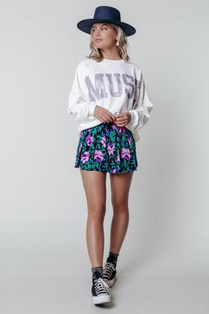 gebloemde high waist loose fit short Kendall zwart/ groen