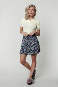 Colourful Rebel gebloemde rok Daphne donkerblauw, Donkerblauw