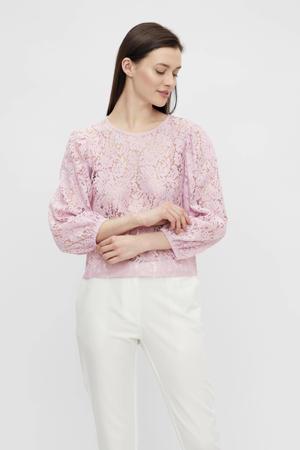 blouse met kant lichtroze