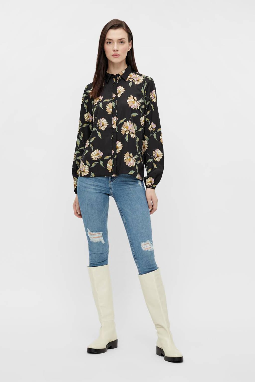 PIECES gebloemde blouse zwart/multi, Zwart/multi