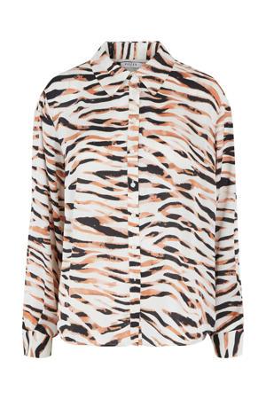 blouse met zebraprint ecru/zwart
