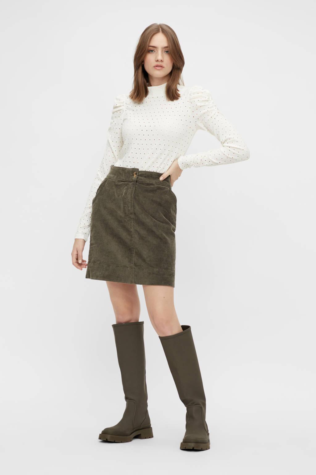 PIECES blouse PCKISTY met open detail wit, Wit