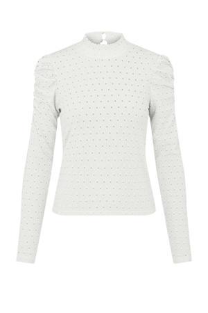 blouse PCKISTY met open detail wit