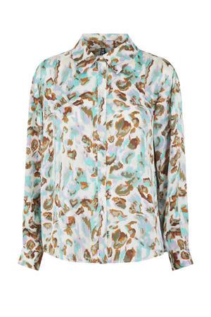 blouse met zebraprint groen