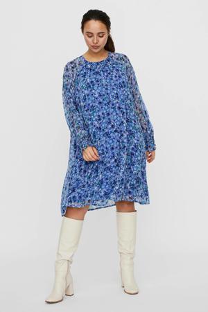 jurk met all over print blauw