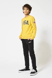 America Today Junior joggingbroek Connor JR met logo zwart, Zwart