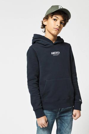 hoodie Steven JR met tekst deep blue