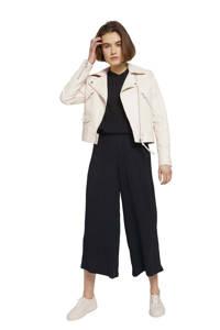 Tom Tailor Denim high waist culotte met textuur zwart, Zwart