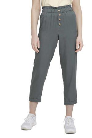 high waist tapered fit broek grijsgroen