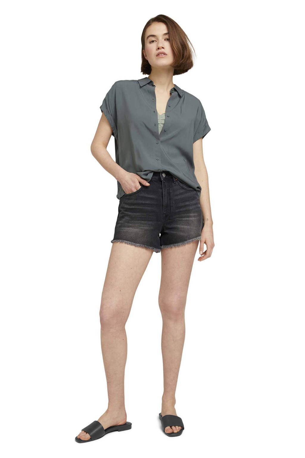 Tom Tailor Denim high waist straight fit jeans short stone washed